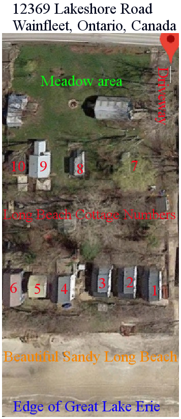 Long Beach Cottage Rental plan view of the cottages with numbers and other landmarks